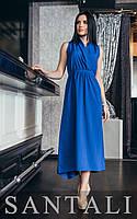Длинное летнее платье из софта без рукава с верхом на запах 45031315