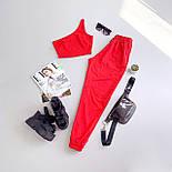 Жіночий брючний костюм двійка з топом на одне плече 6605994Е, фото 4