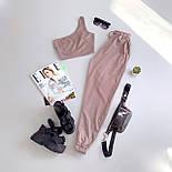 Жіночий брючний костюм двійка з топом на одне плече 6605994Е, фото 6