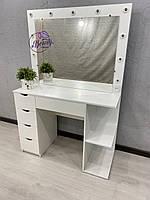 Стол для визажиста, гримерный столик с полочками сбоку тумбы, стол для парикмахера