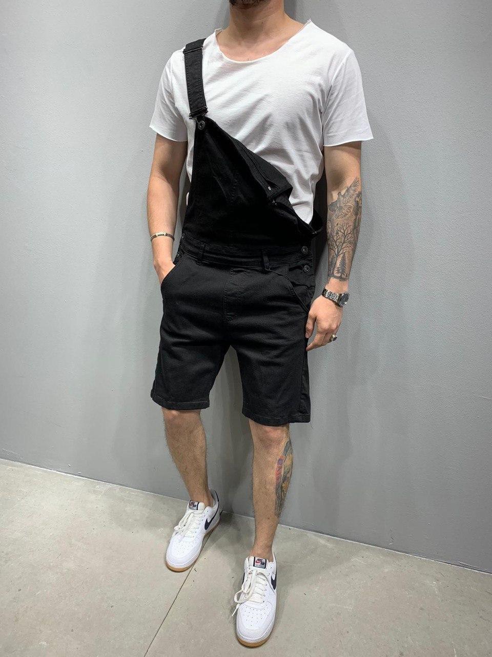 😝 Комбинезон  - Мужской черный джинсовый комбинезон-шорты