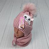М 94009. Комплект зимний для девочки, малявки шапка и манишка , разные цвета, 1-5 лет, фото 2