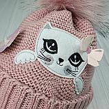 М 94009. Комплект зимний для девочки, малявки шапка и манишка , разные цвета, 1-5 лет, фото 3