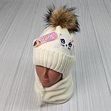М 94009. Комплект зимний для девочки, малявки шапка и манишка , разные цвета, 1-5 лет, фото 5