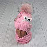 М 94009. Комплект зимний для девочки, малявки шапка и манишка , разные цвета, 1-5 лет, фото 6