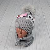 М 94009. Комплект зимний для девочки, малявки шапка и манишка , разные цвета, 1-5 лет, фото 7