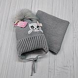 М 94009. Комплект зимний для девочки, малявки шапка и манишка , разные цвета, 1-5 лет, фото 8