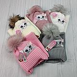М 94009. Комплект зимний для девочки, малявки шапка и манишка , разные цвета, 1-5 лет, фото 10