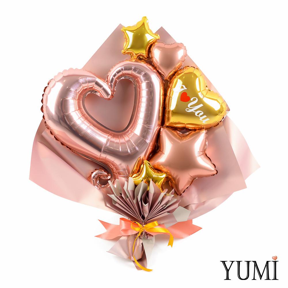 Букет с сердцем вензель розовое золото, золотым сердцем I love you, звездой розовое золото