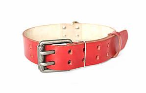 """Кожаный ошейник для собак """"Lockdog"""" с двойной пряжкой красный"""