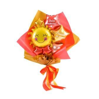 """Букет из мини-фигур на День учителя: Солнышко с улыбкой, красная звезда с надписью """"С Днём Учителя!"""", золотая"""