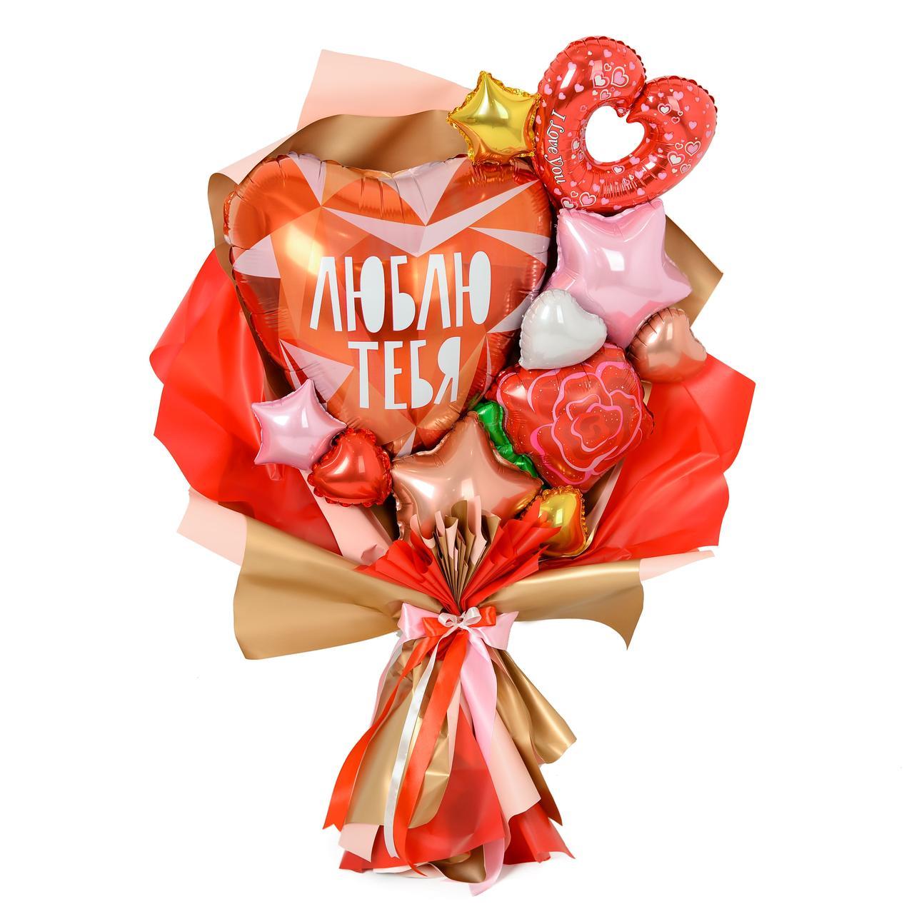 Букет с сердцем Люблю тебя, красной розой, сердцем мини-вензель