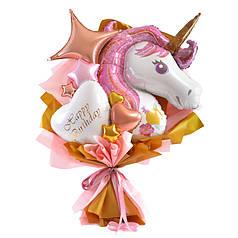 Букет: сиреневый Единорог, сердце белое с золотой надписью Happy birthday