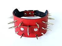 """Кожаный брутальный ошейник ручной работы """"Lockdog"""" с шипами красный"""