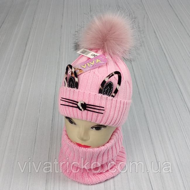 М 94041. Комплект зимовий для дівчинки шапка і снуд , різні кольори