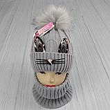 М 94041. Комплект зимовий для дівчинки шапка і снуд , різні кольори, фото 3