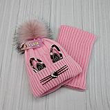 М 94041. Комплект зимовий для дівчинки шапка і снуд , різні кольори, фото 2