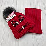 М 94041. Комплект зимовий для дівчинки шапка і снуд , різні кольори, фото 7