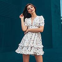 Легкое летнее платье в принт с двойной оборкой и коротким рукавом 66PL1332Q, фото 1