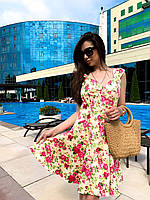 Короткое принтованное платье с карманами и пуговицами спереди по всей длине 63PL1337, фото 1