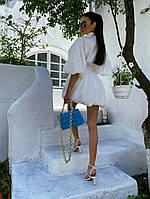 Белое коттоновое летнее платье с пышной юбкой и широкими рукавами - фонариками 71PL1339, фото 1