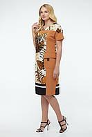 Летнее льняное женское платье Альбина песочное большие размеры 50 52 54 56 58