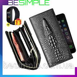 Мужское портмоне Aligator (кошелёк, клатч)  + подарок Фитнес-браслет Xiaomi Mi Band M3