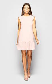 Прямое летнее платье без рукава с оборкой из сетки в горошек 45py1314