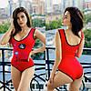 Женский сдельный купальник с рисунком фламинго спереди 56KP457
