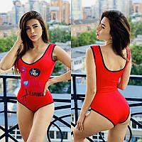 Женский сдельный купальник с рисунком фламинго спереди 56KP457, фото 1