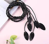 """Пояс женский тонкий косичка с листьями """"Лист"""" цвет черный"""