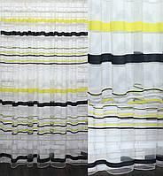 Тюль фатин полоса, цвет желтый и черный. Код 523т, фото 1