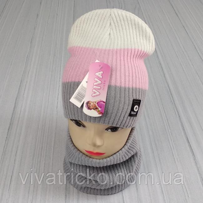 М 94044. Комплект зимовий для дівчинки шапка будиночок і снуд , різні кольори