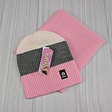 М 94044. Комплект зимовий для дівчинки шапка будиночок і снуд , різні кольори, фото 5