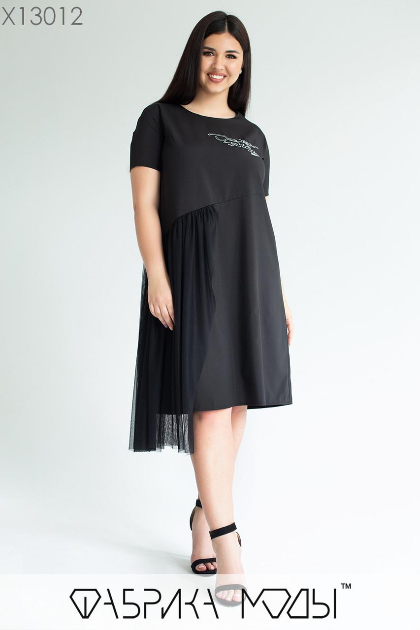 Прямое легкое платье в больших размерах с коротким рукавом и декором из сетки 1ba691