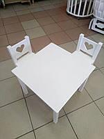 Набор стол плюс 2 стула Сердечк белый