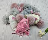 М 94045 Шапка вязаная  зимняя для девочки с ушками (малявка) 1-5 лет, разные цвета, фото 8