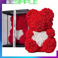 Мишка из 3D роз 40 см с сердечком в подарочной коробке, Мишка из цветов и роз