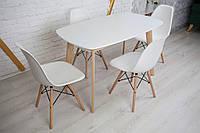 Комплект кухонной мебели Wood Light Винцензо 120 белый прямоугольный стол + 4 стула