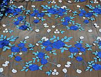 Гипюр синие цветы на сетке черного цвета  Y 149, фото 1