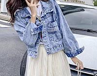 Куртка джинсовая женская с карманами в голубом цвете 221м