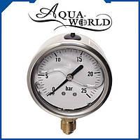 """Манометр аксиальный глицериновый Aqua World 1/4"""" 10 бар НМ202-10"""