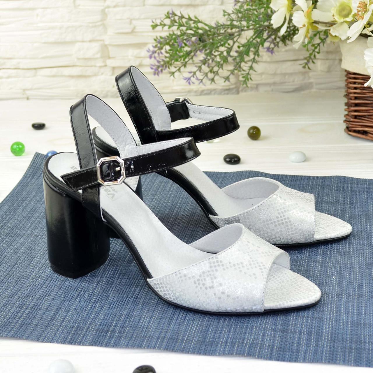 Босоножки кожаные женские на высоком каблуке, цвет белый/черный