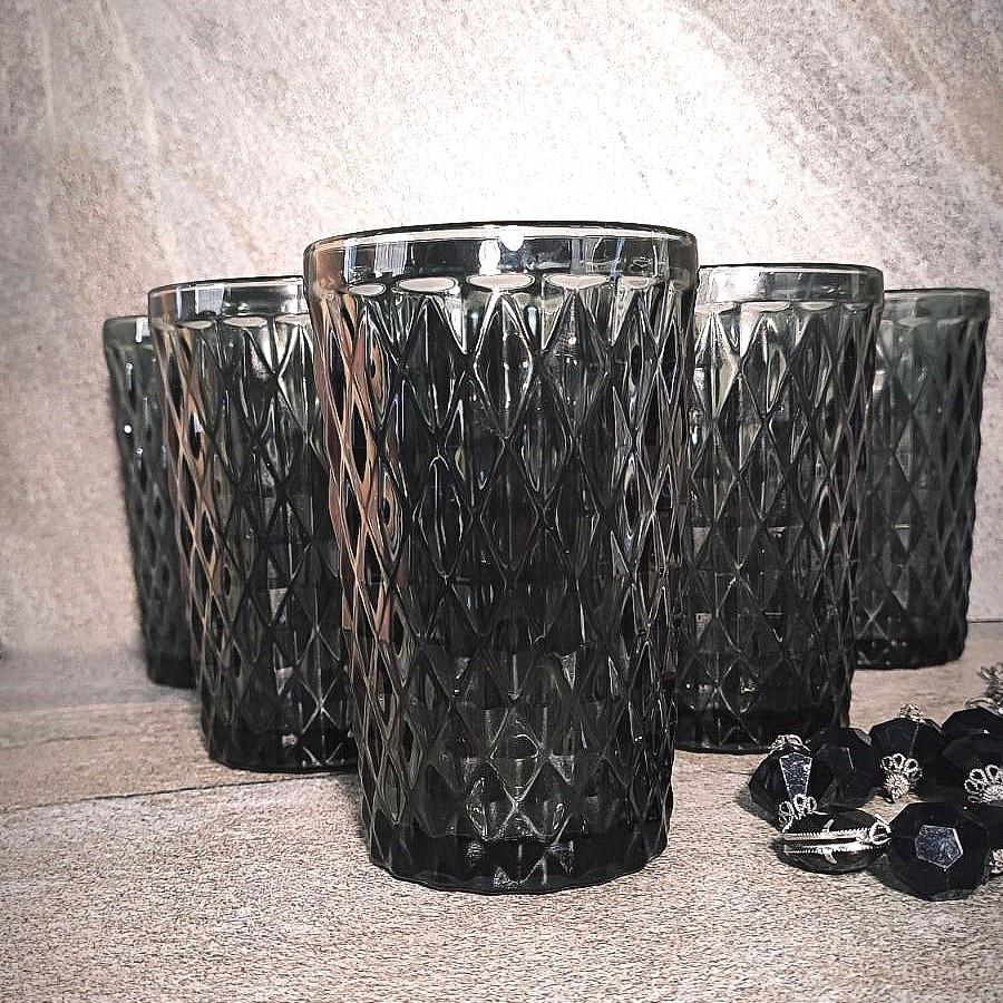 "Набор чёрных винтажных стаканов для напитков ""Кварц"" 6 шт 350 мл (6431)"