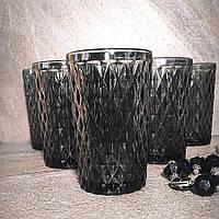 """Набор чёрных винтажных стаканов для напитков """"Кварц"""" 6 шт 350 мл (6431), фото 1"""