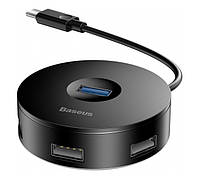 USB Хаб Baseus Round Box 5в1 USB 3.0/ USB 2.0 x 3/ Micro USB Чорний (CAHUB-G01)