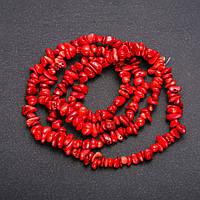 Бусины на леске Коралл Красный крошка d-6(+-)мм L-80см купить оптом в интернет магазине