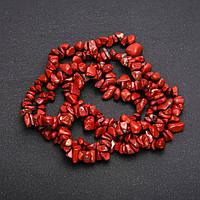Бусины на леске Яшма Красная крошка d-7(+-)мм L-80см купить оптом в интернет магазине