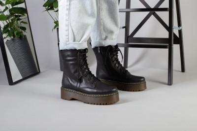 Женские черные кожаные ботинки с замком, на шнурках
