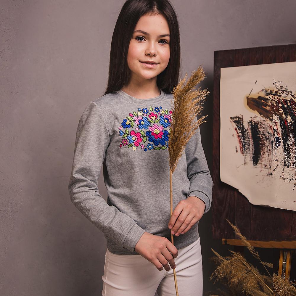 Світшот-вишиванка Moderika Петраківський Розпис сірий